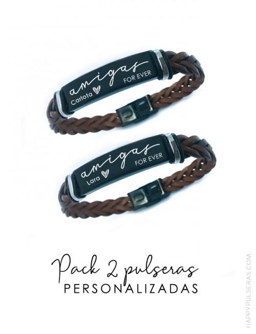 Pulseras personalizadas de cuero y titanio- graba tu mensaje: Super oferta Pack de 2- Happypulseras