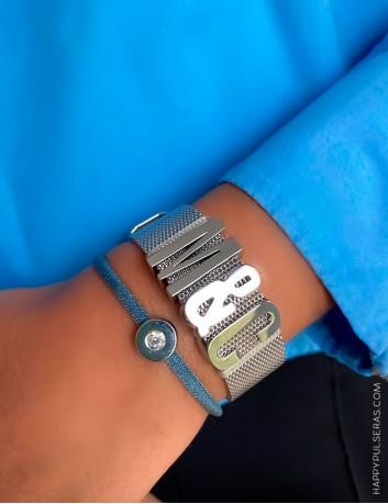 Pulsera malla de acero con iniciales grandes a personalizar- Añade hasta 6 iniciales- Happypulseras