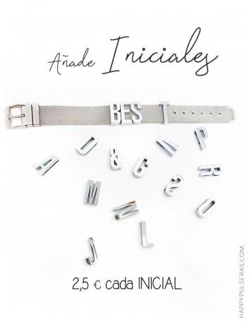 Añade iniciales para la pulsera malla de acero. Regalo original para Navidades Happypulseras