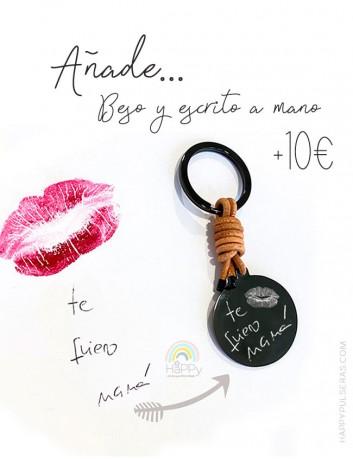 Añade un beso a nuestros productos HAPPY con un ESCRITO A MANO, Grabamos tu dedicatoria a mano- Happypulseras