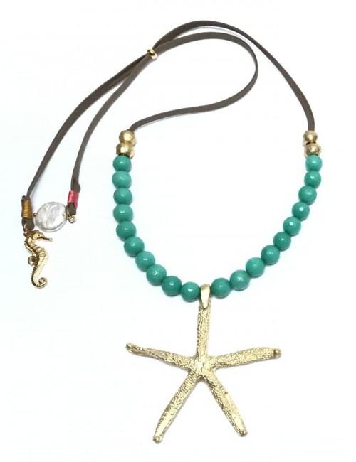 collar mujer estrella mar dorada y piedras redondas en color turquesa