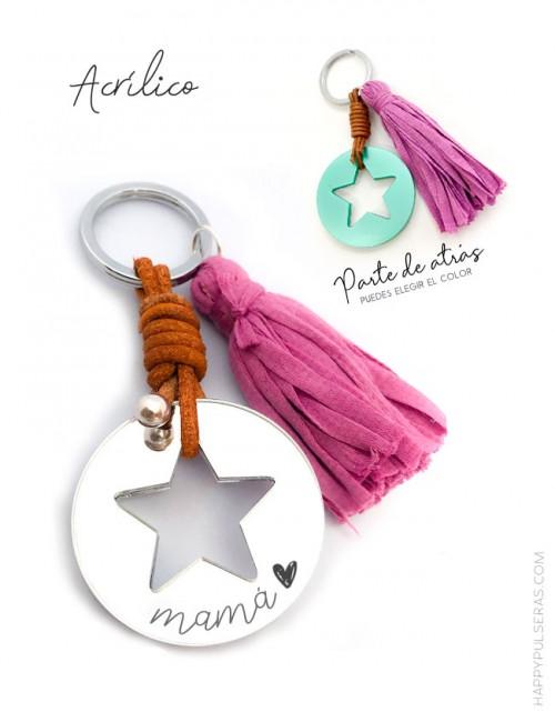 Llavero con estrella Hueca en material acrílico, cuero y pompón a color. Top ventas Happypulseras