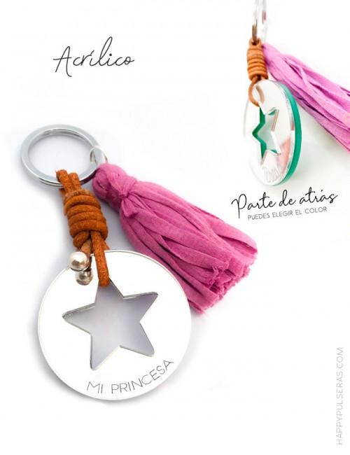 jewerly-online-llavero-personalizado-con-pompón-colores-acrílico-efecto-efecto-espejo-plata-estrella-hueca