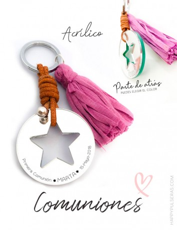 Llaveros personalizados para comuniones. En Happy te hacemos los llaveros para regalar a tus invitados con grabado