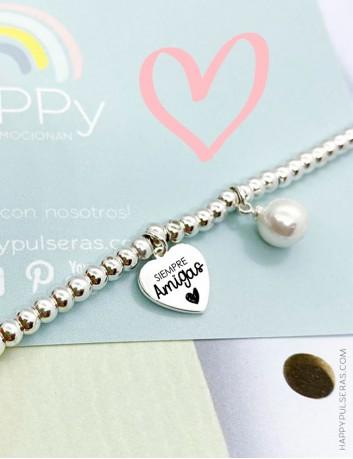 Pulsera bolitas de acero con corazón y perlita para grabar tu nombre- Happypulseras