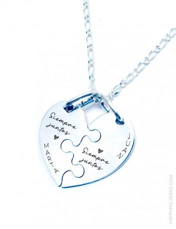 Colgante corazón partido grabado como quieras-regalos para parejas personalizados-Happypulseras