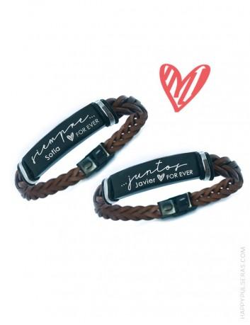 Pulseras de cuero personalizadas para enamorados-San Valentín en Happypulseras