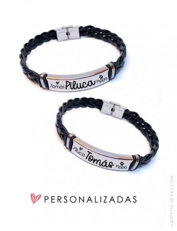 Pack pulseras personalizadas de cuero para parejas en San Valentín- Happypulseras- regalos que emocionan