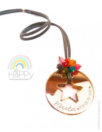 Colgante estrella de moda personalizable con el mensaje que te guste- te lo diseñamos nosotros- Happypulseras