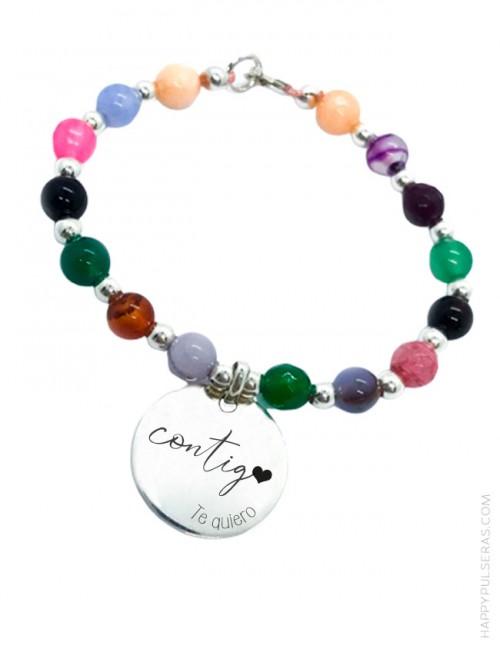 Pulsera de piedras naturales de colores y plata con medalla para grabar mensaje que quieras- Ideal para regalo enamorados