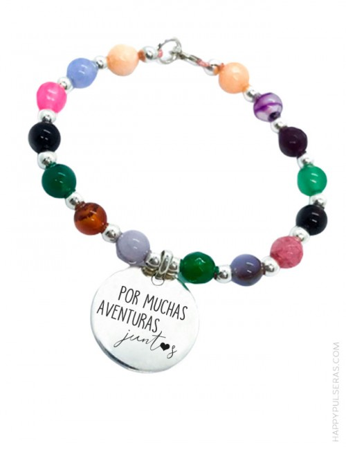 Pulsera de piedras naturales de colores con mensaje personalizado en Happypulseras