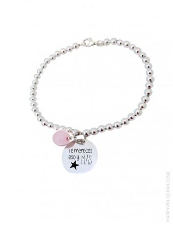 Pulsera de bolitas de plata clásica con medalla colgante para personalizar tu mensaje- Regala Happy en San Valentín