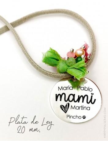 Colgante con medalla de plata grabada con tu mensaje, regalo para mamá personalizado- Happypulseras