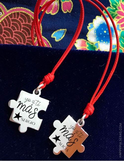 Colgantes piezas puzzle grabadas para enamorados- Colgantes para parejas-Happypulseras