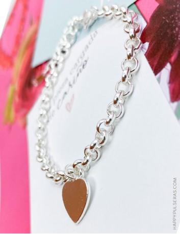 Pulsera original para regalar en San Valentín- Personaliza tu pulsera grabando el corazón- Happypulseras