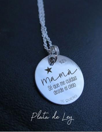 Cadenas de plata con medalla de diferentes tamaños para grabar el mensaje que quieras- Happy