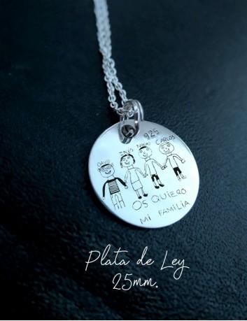 Cadena de plata con una medalla de plata con un dibujo grabado, o cualquier escrito a mano - Happypulseras