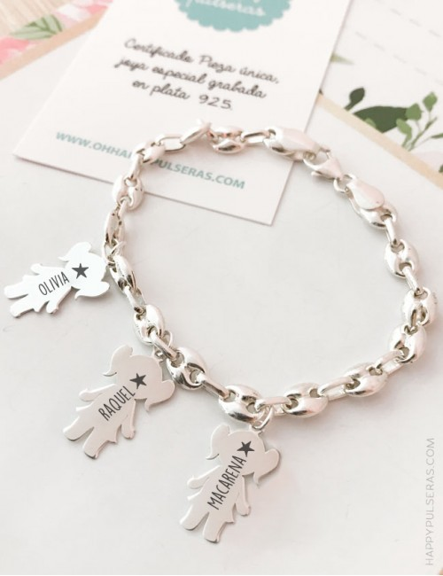 Pulsera de plata personalizada con el nombre de tus peques grabados- Pulseras de plata mamá con nombre hijos- Happy