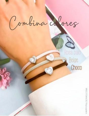 Pulsera corazon de acero con piedra brillante disponible en muchos colores- Oferta 3x2 en Happypulseras