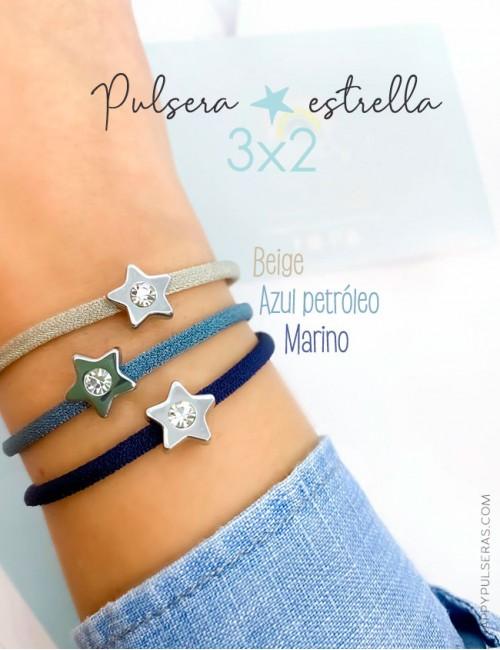 Pulsera de acero blanco y circonita en forma de estrella con cordón seda de colores- Oferta 3x2 Happy