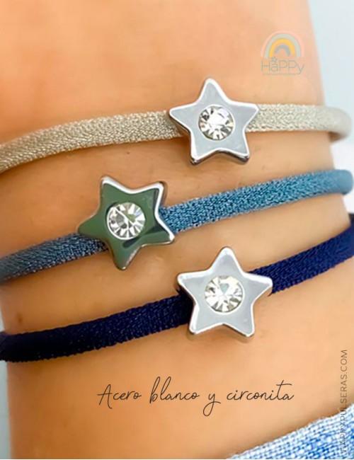 Pulsera estrella acero blanco con circonita disponible en muchos colores- Oferta 3x2 en Happypulseras