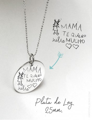 Cadena de plata bolitas con medalla de plata 25 mm. grabada con dibujo o escrito a mano- Happypulseras