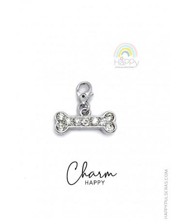 Charm Happy de acero y circonitas blancas con forma de hueso para decorar tus pulseras- Happy