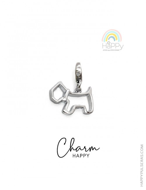 Charm happy con la silueta de perrito westwing en acero para pulseras- Happy