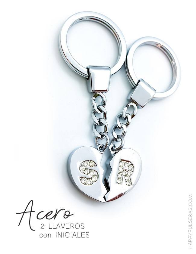 llaveros de acero personalizados con las iniciales en circonitas blancas brillantes, ahora en oferta!!
