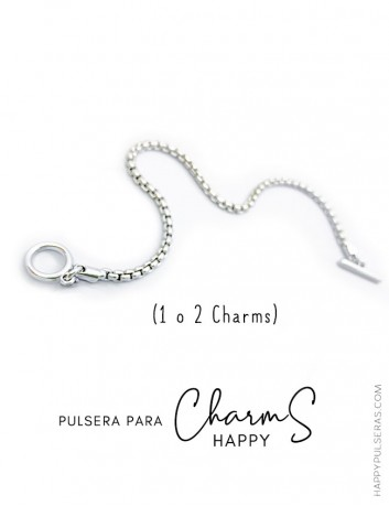 Pulsera de acero en cordón serpiente redonda para charms Happy. Base para charms