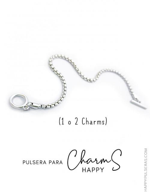 Pulsera de acero en cordón serpiente redonda para charms Happy. Base para charms