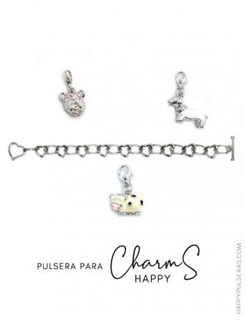Pulsera de acero con eslabones de corazones para añadir Happy Charms- Personaliza pulseras a tu gusto.