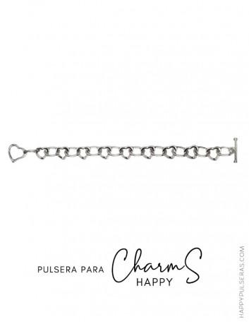 Pulsera base de acero con corazones para añadir los Charms que te más te gusten- Ofertas en Charms Happy