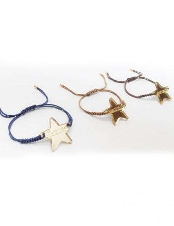 pulsera de macramé de colores con estrella en oro o en plata para grabar el nombre o palabra
