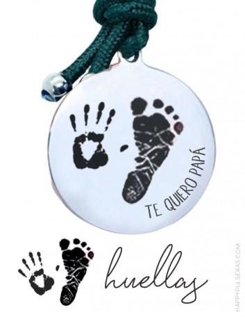 llaveros personalizados de acero grabados con las huellas de bebé- Regalos originales para papá- Happypulseras