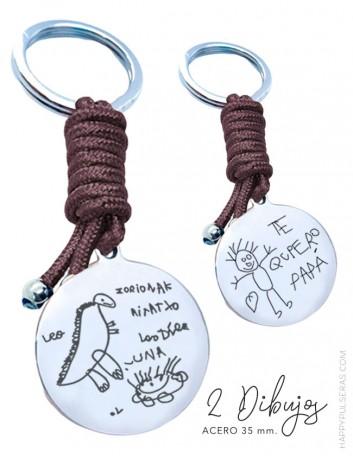 llaveros personalizados de acero con cordón nautico de color grabado con 2 dibujos- Happypulseras