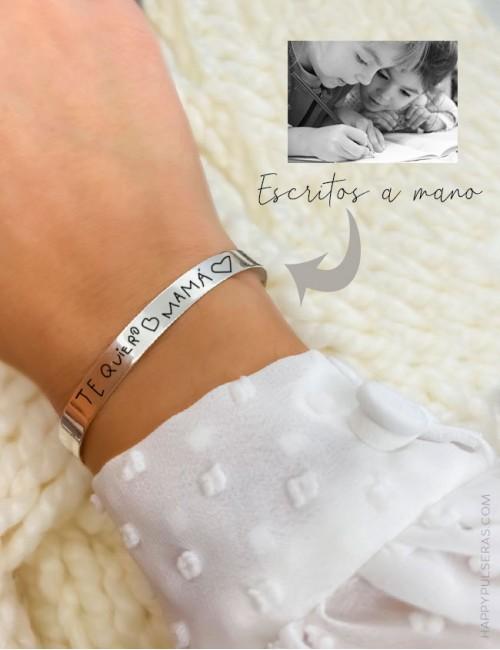 Pulsera de plata brazalete fino para grabar un escrito a mano... Regalo ideal para mamá...dedícale unas palabras