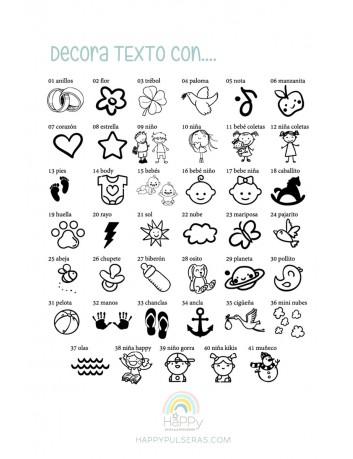 Decora tu grabado con los iconos que te gusten... Happypulseras, grabados especiales