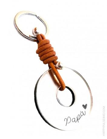 Llaveros personalizados para papá- Cuero y donut acrílico en plata efecto espejo- Happypulseras