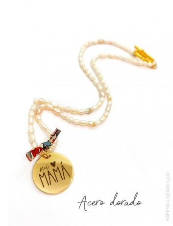 Collar corto perlas irregulares con medalla dorada para personalizar a tu gusto- Happypulseras