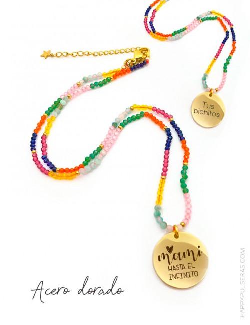 Collares de piedras naturales pequeñas multicolor con medalla dorada grabada a dos caras- Happypulseras