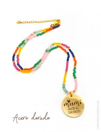 Colgante corto en acero dorado con medalla personalizada con tu mensaje- Happypulseras