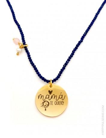Colgante corto en acero dorado con medalla personalizada con tu mensaje piedras azules y luna- Happypulseras