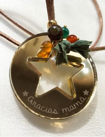 Collar largo con colgante redondo estrella hueca en acrílico espejo oro personalizare con texto, nombre, palabras