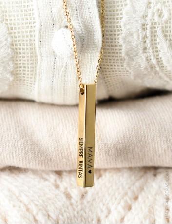Lingote colgante dorado con cadena finita dorada. Graba por los 4 lados- happypulseras