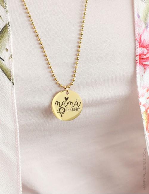 Cadena larga minibolitas en dorado con medalla de 30 grabada con dedicatoria con diseño único para tí- happy
