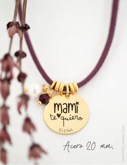 Cordón seda con medalla dorada de 20 para personalizar con tu dedicatoria- happypulseras