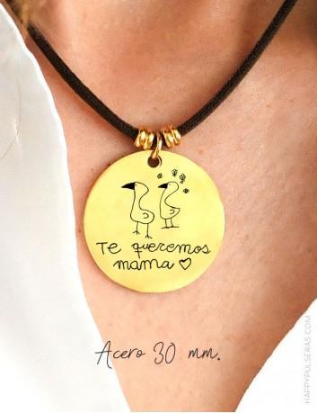 Cordón seda con medalla dorada de 30 para personalizar con tu dibujo o escrito a mano- happypulseras