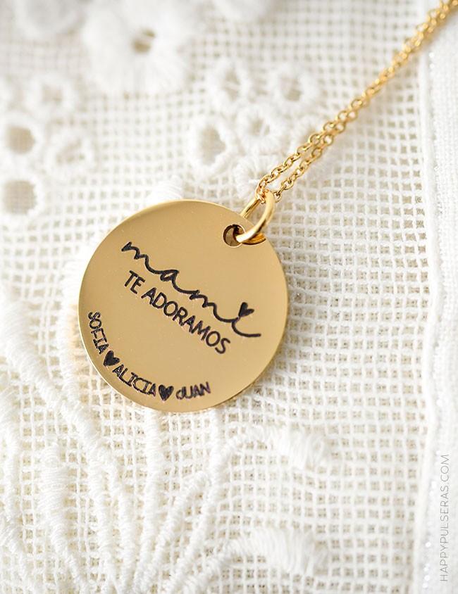 Cadena dorada con medalla grabada con dedicatoria- Te diseñamos tu grabado- Happypulseras