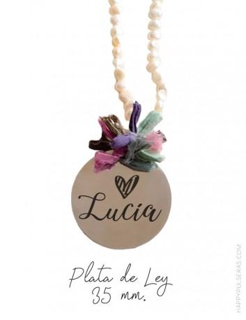 Collares personalizados origianles de perlas con medallones de plata personalizados con tu nombre- happypulseras